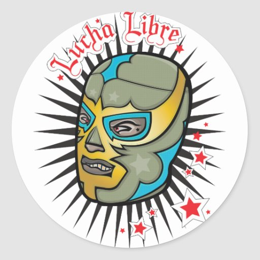 Lucha Libre Mexican Wrestling Mask Round Sticker