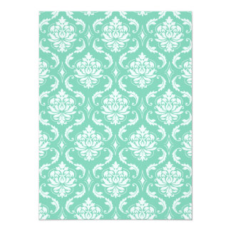Lucite Green and White Classic Damask 14 Cm X 19 Cm Invitation Card