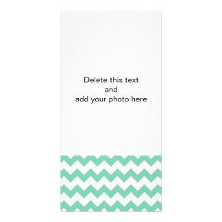 Lucite White Chevron Pattern Custom Photo Card