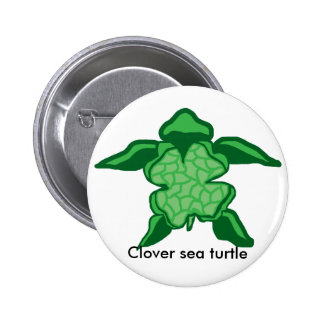 Luck Irish clover sea turtle button