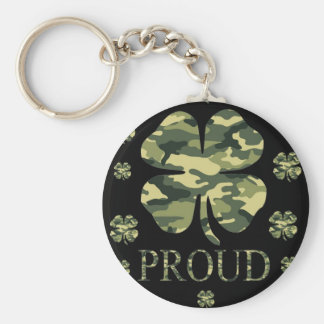 Luck Irish Four leaf clover - Camouflage Basic Round Button Key Ring
