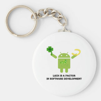 Luck Is A Factor In Software Development Bugdroid Basic Round Button Key Ring