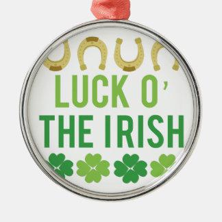 Luck O Irish Silver-Colored Round Decoration