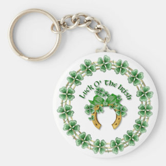 Luck O' The Irish Basic Round Button Key Ring