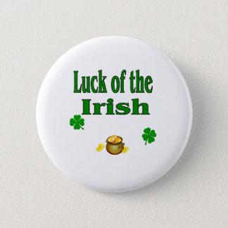 luck of irish 6 cm round badge