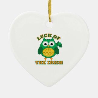 Luck Of Irish Ceramic Heart Ornament