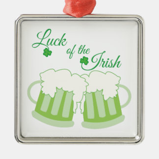 Luck Of Irish Silver-Colored Square Decoration