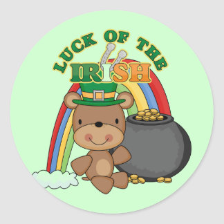 Luck of the Irish Bear T-shirts and Gifts Round Stickers
