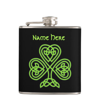 Luck Of The Irish Celtic Knot Shamrock Flask