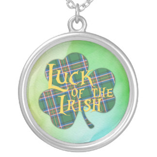 Luck of the Irish Plaid Shamrock Silver Plated Necklace