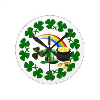 luck of the Irish Pride clock shamrock design