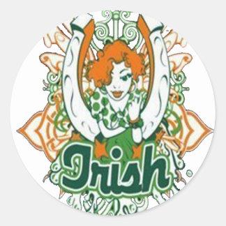 luck of the irish round sticker