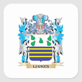 Luckes Coat of Arms - Family Crest Square Sticker