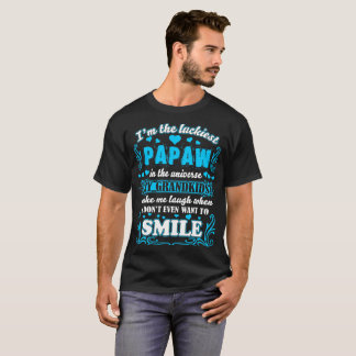 Luckiest Papaw In Universe Grandkids Make Smile T-Shirt