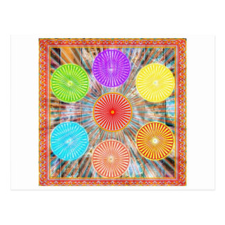 LUCKY7 Blessings Goodluck Chakra Rounds Circles Postcard