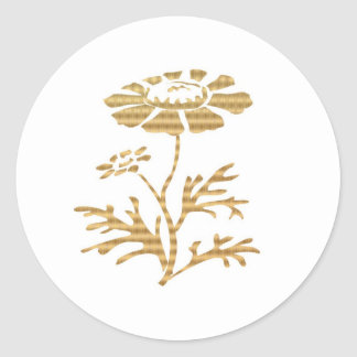 Lucky 10 Golden Flowers Round Sticker