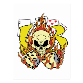 Lucky 13 Dice and Skull Postcard