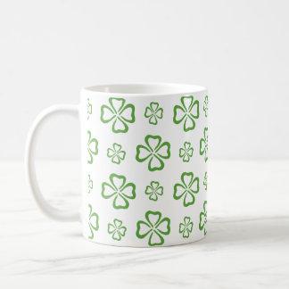 Lucky 4 Leaf Clover Pattern Basic White Mug