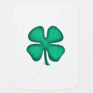 Lucky 4 Leaf Irish Clover baby blanket (1 side)