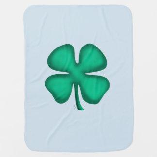 Lucky 4 Leaf Irish Clover baby blue blanket 1 side