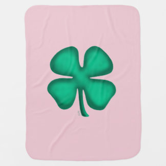 Lucky 4 Leaf Irish Clover baby pink blanket 1 side