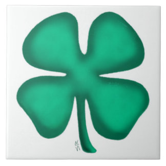 Lucky 4 Leaf Irish Clover large tile