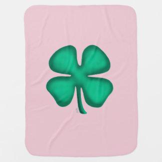 Lucky 4 Leaf Irish Clover pink baby blanket 2 side