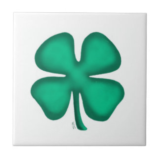Lucky 4 Leaf Irish Clover small tile