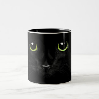 Lucky black cat mug,for the cat lover...purrrrfect Two-Tone coffee mug