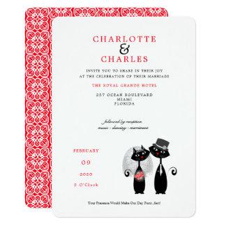 Lucky Black Cats Bride | Groom Purrr..fect Wedding Card