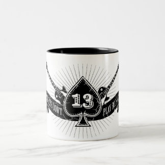 Lucky Boys Don't Play Rock and Roll Ace of Spades Two-Tone Coffee Mug