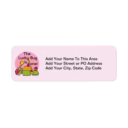 Lucky Bug Cupcake 1st Birthday Tshirts and Gifts Return Address Label