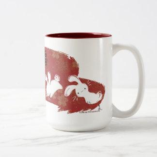 Lucky Bunnies Brushstroke Mug (Red) Two-Tone Mug