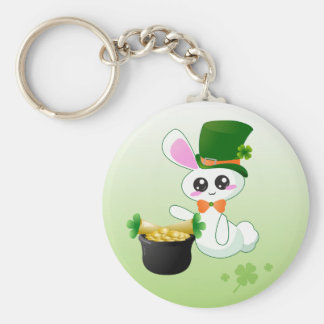 Lucky Bunny Basic Round Button Key Ring
