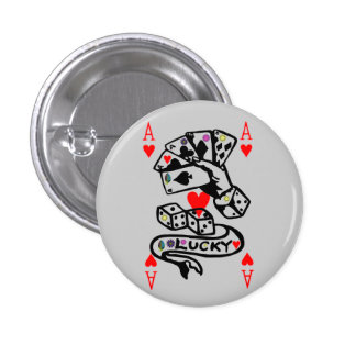 Lucky Cards In Black And Red 3 Cm Round Badge