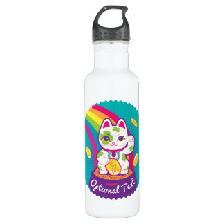Lucky Cat Maneki Neko Good Luck Pot of Gold 710 Ml Water Bottle