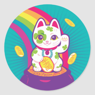 Lucky Cat Maneki Neko Good Luck Pot of Gold Classic Round Sticker