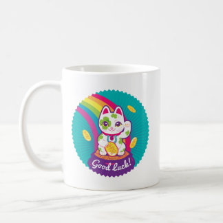 Lucky Cat Maneki Neko Good Luck Pot of Gold Coffee Mug