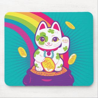 Lucky Cat Maneki Neko Good Luck Pot of Gold Mouse Pad