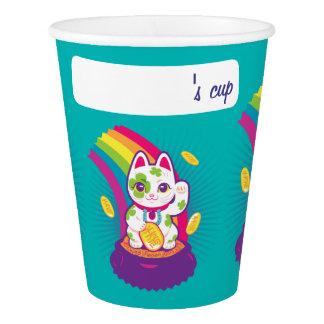 Lucky Cat Maneki Neko Good Luck Pot of Gold Paper Cup