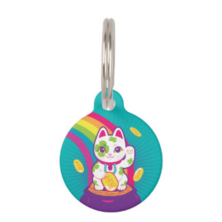 Lucky Cat Maneki Neko Good Luck Pot of Gold Pet Name Tag