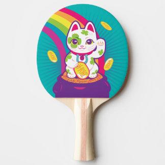 Lucky Cat Maneki Neko Good Luck Pot of Gold Ping Pong Paddle