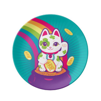 Lucky Cat Maneki Neko Good Luck Pot of Gold Plate