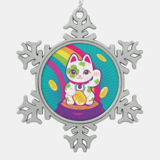 Lucky Cat Maneki Neko Good Luck Pot of Gold Snowflake Pewter Christmas Ornament