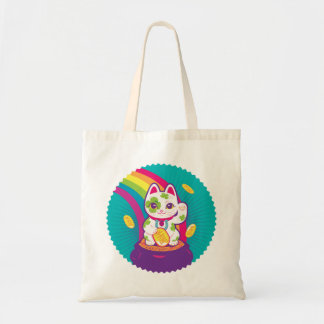 Lucky Cat Maneki Neko Good Luck Pot of Gold Tote Bag