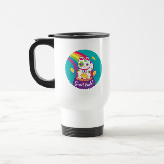 Lucky Cat Maneki Neko Good Luck Pot of Gold Travel Mug