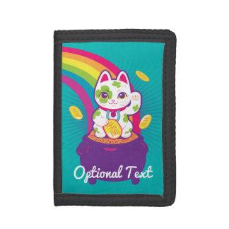 Lucky Cat Maneki Neko Good Luck Pot of Gold Trifold Wallet