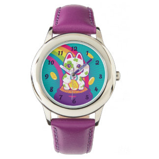 Lucky Cat Maneki Neko Good Luck Pot of Gold Watch