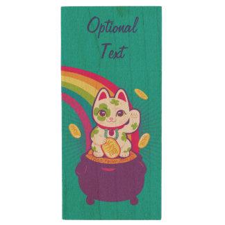Lucky Cat Maneki Neko Good Luck Pot of Gold Wood USB Flash Drive