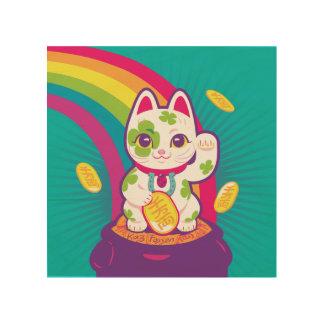 Lucky Cat Maneki Neko Good Luck Pot of Gold Wood Wall Art